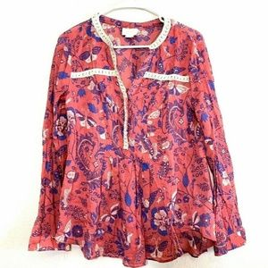 Anthropologie Maeve Abella Pintuck Blouse Size 8